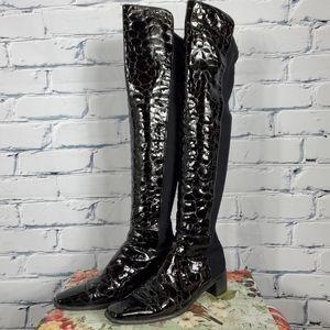 Stuart Weitzman Reserve Crocodile Embossed Boots